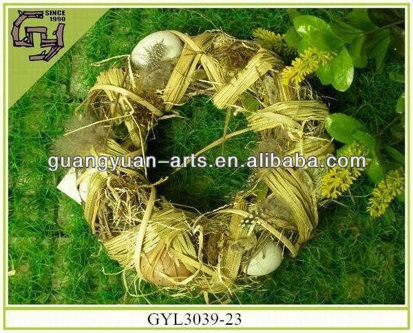natural wicker spring decor Easter egg wreaths