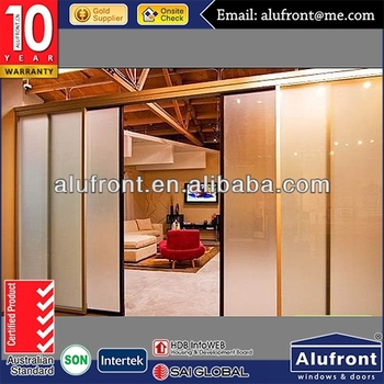 Vertical aluminum glass partition door comply with Australian Standards