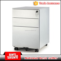 Best quality office furniture steel small storage movable file cabinet with three drawer