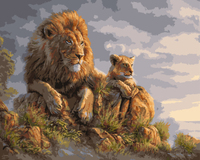 GX8459-40*50 lion oil painting impressionist handmade picture for home accessories