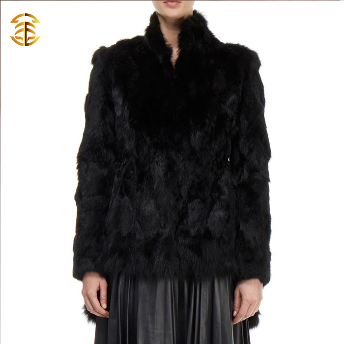 Ladies Genuine Rabbit Fur Coat Black Color Rabbit Fur Jacket Women