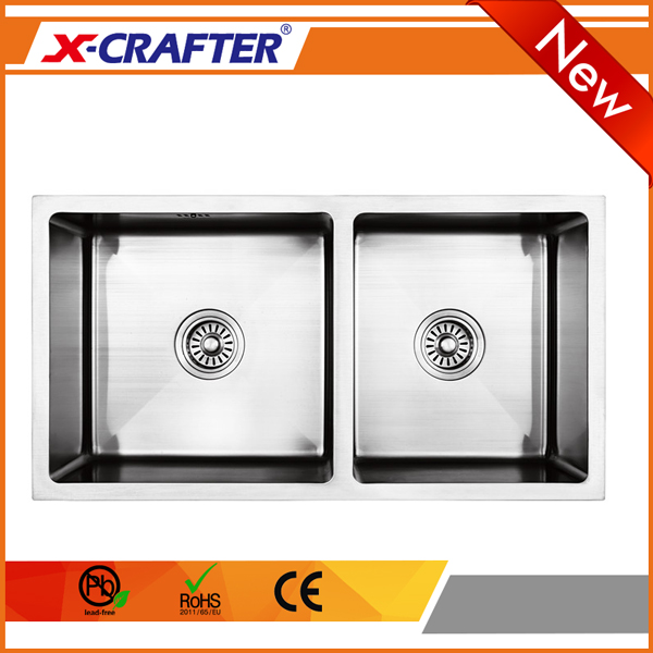 Wholesale small corner stainless steel double bowl undermount handmade <strong>kitchen</strong> <strong>sink</strong>