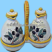 Italian Ceramic Majolica Oil and Vinegar Cruet Set