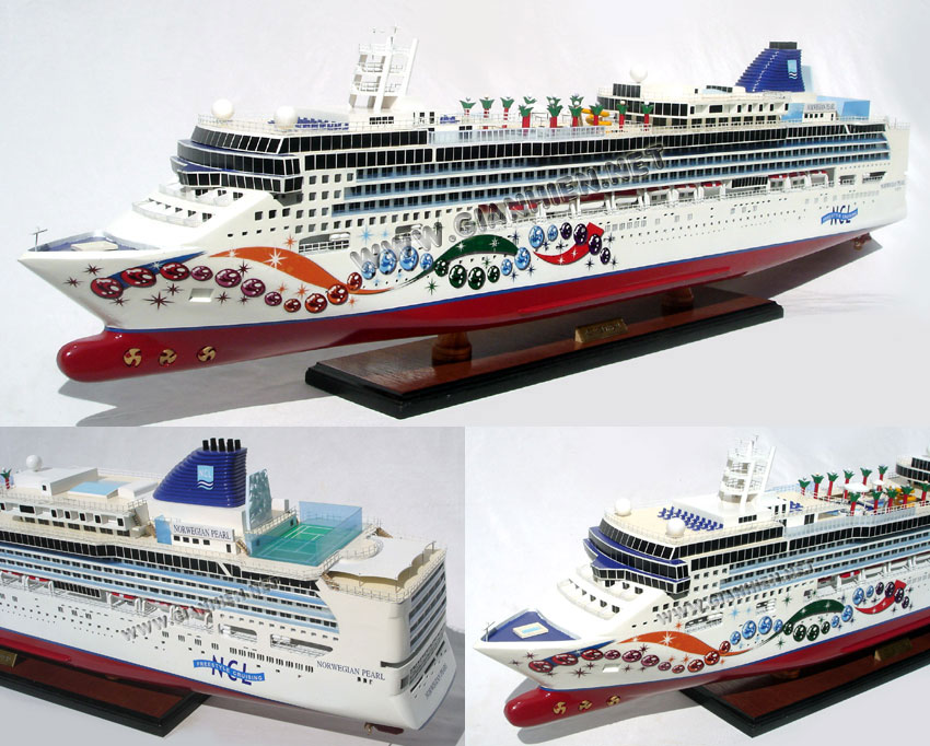 NORWEGIAN PEARL OCEAN LINER MODEL - WOODEN CRAFT SHIP