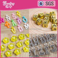cube gold silver plated flower acrylic beads wholesale big hole fancy alphabet beads