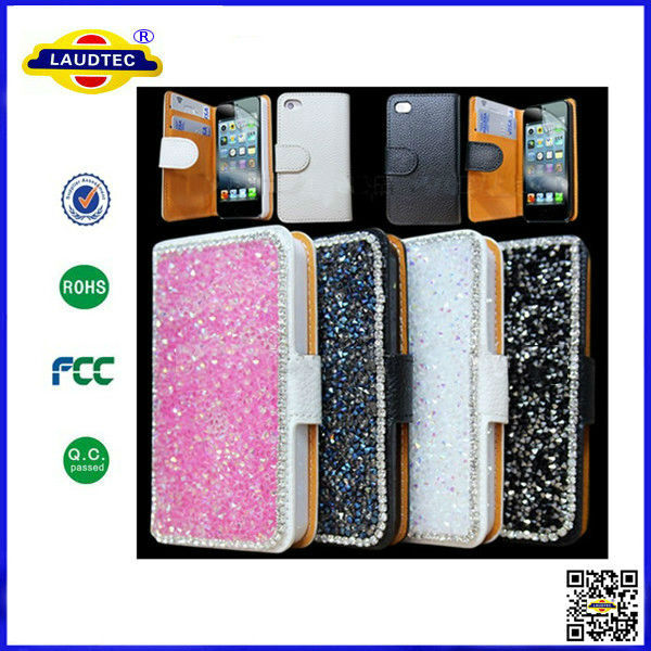 New Luxury Leather Bling Crystal Diamond Sparkle Wallet Leather Case For iPhone 4 5 5s 6 --Laudtec