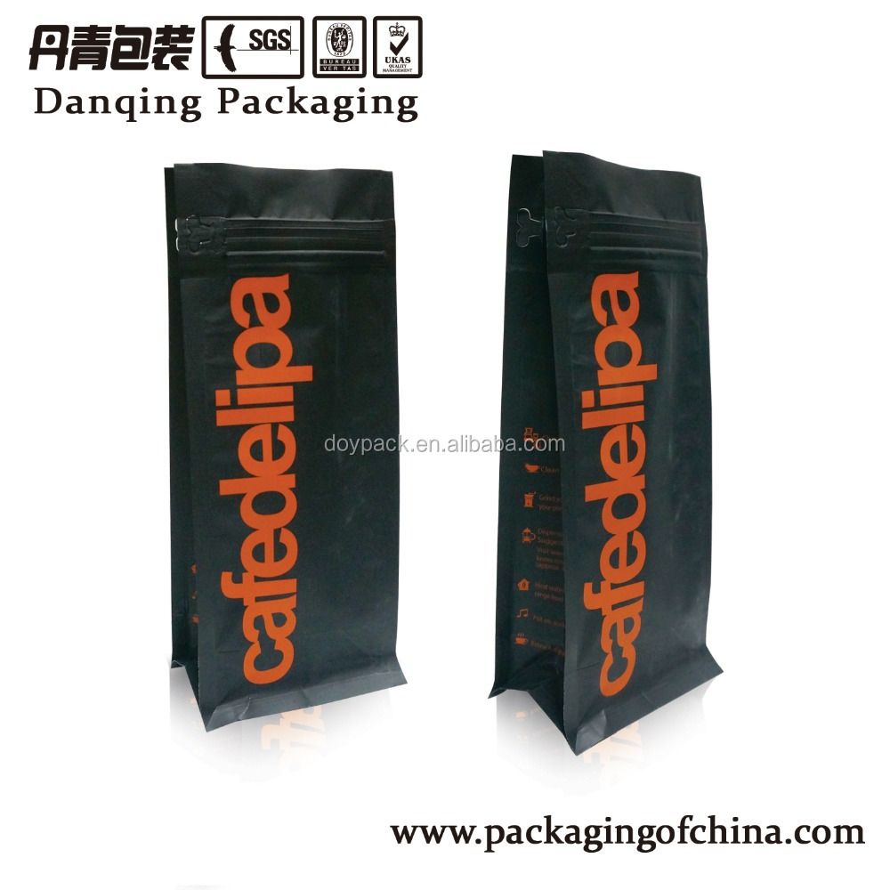 New Style Coffee Quad Side Seal Bag with Zip- lock Coffee Bags with Valve D0228