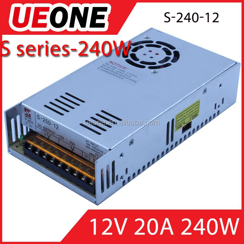 240W switching power supply cE factory price 12v 20a switch power supply from Zhejiang Wenzhou