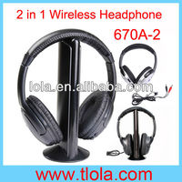 Hot Selling Double Wireless TV Headphones Built-in FM Radio MH2001-1