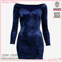 Ladies' velvet neckless high quality direct manufacture gold party dress