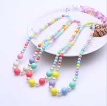 Wholesale baby girls love candy colorful necklace of plastic bead for kids