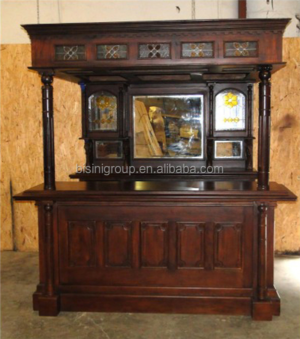 Exquisite Stained Glass Wine Cabinet, Wooden Home Bar Counter For Pub