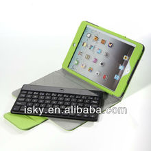 Green Removable Wireless Bluetooth ABS Keyboard Folio PU Leather Case Cover Magnetic Smart Stand for iPad 2 New Apple iPad mini