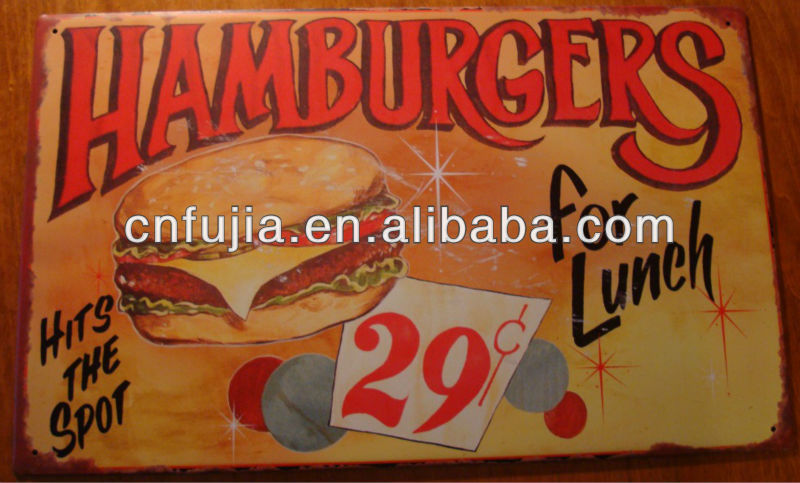 4C printed restaurant sign retro poster,vintage plauqe,custom metal sign