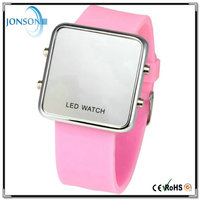 Customized LED light up digital touch screen date led watch black metal
