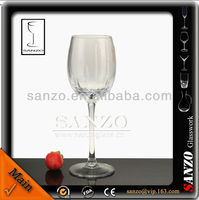 handblown display red color ice crackle wine glass
