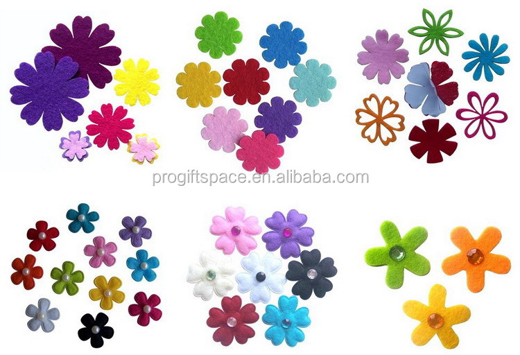 progiftspace 2017 new fashion heat embossing polyester felt decorative buttons wholesale for craft toy clothing accessories DIY