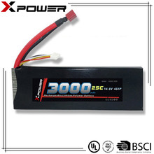 14.8v 3000mAh 25C factory price Li ion rechargeable battery cell lipo battery for RC toy drone helicopter
