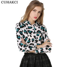 New Design Ladies Button Slim Blouse Design Leopard Printed Long Sleeve Chiffon Blouses Tops Of China Factory
