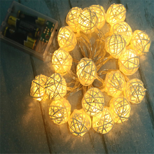 2m 20leds christmas battery decoration rattan ball string lights
