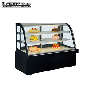 Single Curved Glass Door Cake Cabinet Dessert Bread Fruit Refrigerated Display