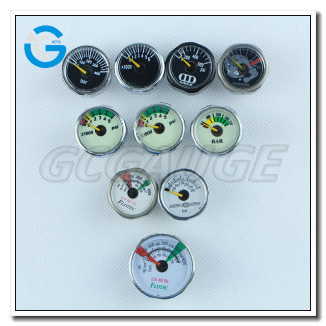 High quality 1inch 25mm 23mm chrome color miniature pressure gauge manometer