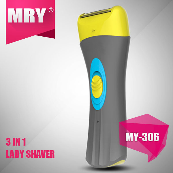 New Arrival lady Epilator Electric Shaver For Armpit Bikini Legs Personal Care and dead skin remover 3 in 1 set(MY-306)