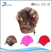 Winter solid color custom outdoor hunting skiing fisherman polar fleece earflap beanie hats and caps