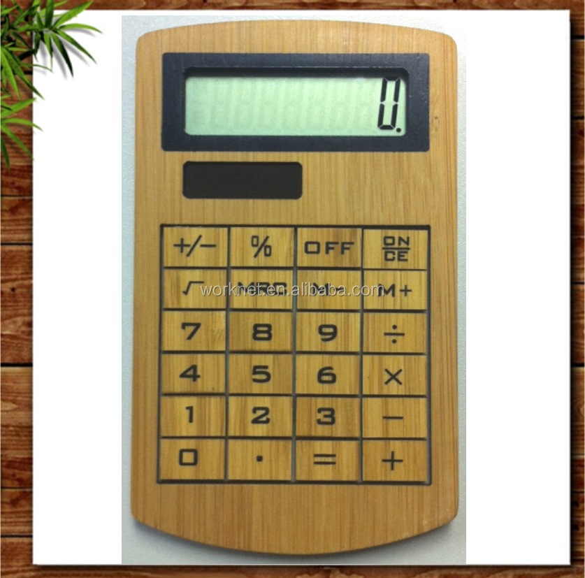 2016 new arrival 8 digital solar powered bamboo calculator for gift