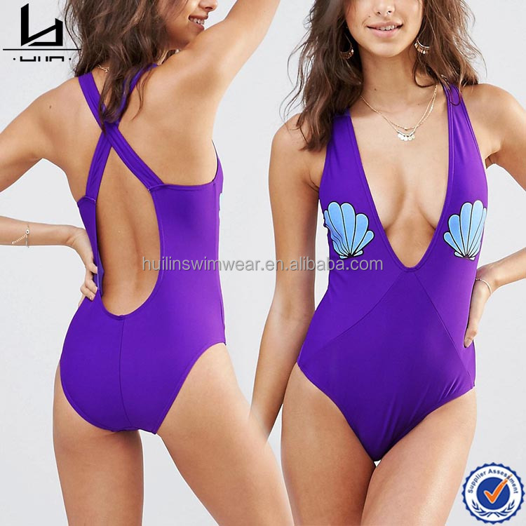 Purple shell print comfortable sexy one piece bathing high waisted swimsuit