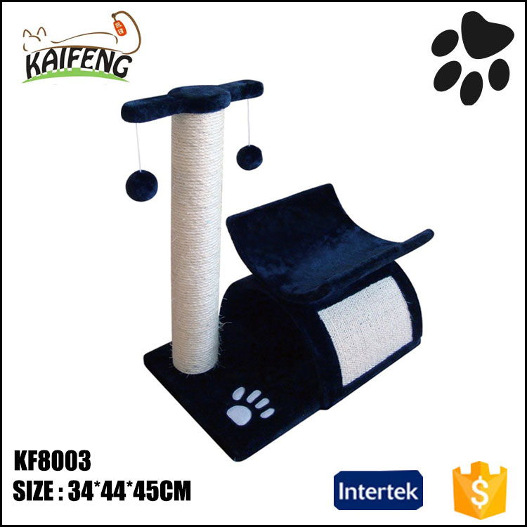 Pet furniture modern cheap banana cat scratching climber post, cat tree with ball toys
