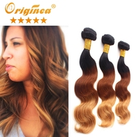 Wholesale Price 3pcs/lot natural ombre brazilian dark hair ombre best ombre hair color for black hair