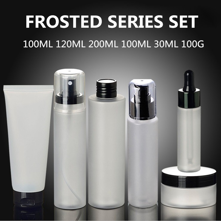 100ML Frosted Plastic PET Bottle With White Color Fine Mist Sprayer 24/410