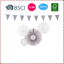 New! Creative Wood Grain Hanging Paper Decoration Set Bunting/ Honeycombs/Paper Fans Birthday Wedding Anniversary Showers Party