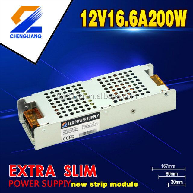 30MM SLIM AC DC 200W 12V SINGLE OUTPUT LED POWER SUPPLY HIGH PFC