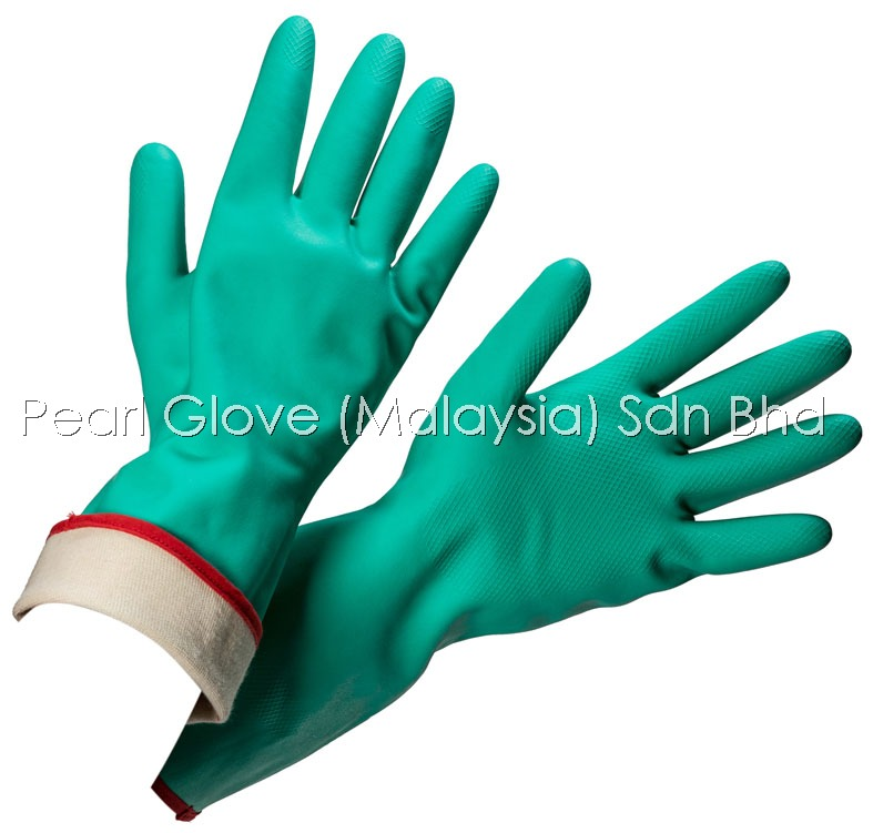 Chemical Resistant Nitrile Glove Bonded With Seamless Polyamide Knit-Lining