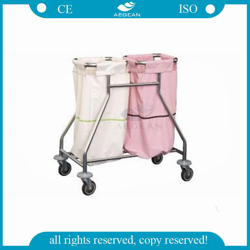 AG-SS019 Stainless steel base hospital two linen bag cleaning medication clothes trolley