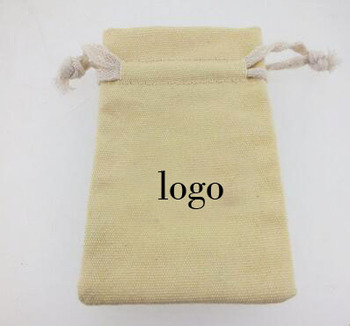 promotional 100% cotton canvas 10 ounce small drawstring pouch with string