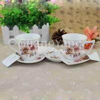CE EU CIQ EEC FDA LFGB Certificates Ceramic Antique Tea Cups And Saucers With Custom Logo Printing