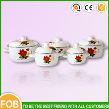 5pc Enamel Coated Flower Decal Cookware Casserole,Enamel Casserole/cookware sets kitchen