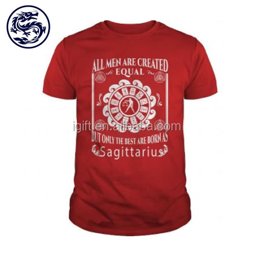 Zhongshan Dragon 100% cotton Custom Red Color Men T Shirt Printing