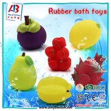 Good quality PVC soft rubber fruit theme bath toys for kids