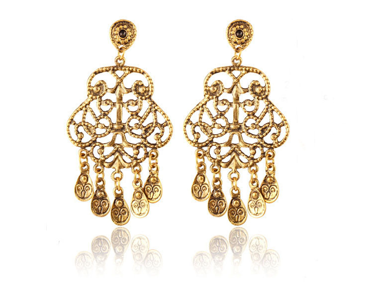 Malaysia style jewelry vintage gold plated luxury 2016 alibaba fashion earring designs X90