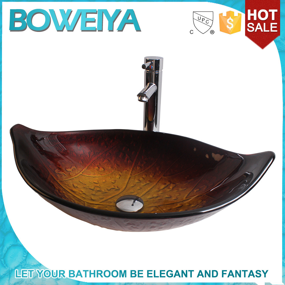 Made in China Art Design Luxury Bathroom Sanitary Ware Hand Painted Counter Top Tempered Glass Washbasin