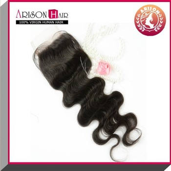 alibaba golden supplier in 4*4 body wave cheap lace closure piece