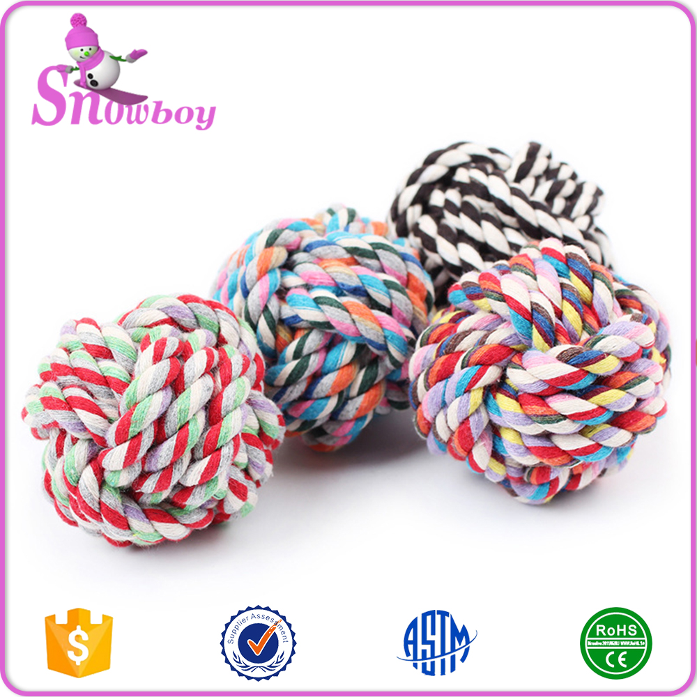 Factory Wholesale Colorful Braided Dog Cotton Rope Ball Toy ,Dog Chewing Ball Toys