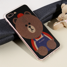 Free Sample Brown Bear cartoon phone case TPU smartphone cover Mobile Accessories Shenzhen for i phone 7 6 6s