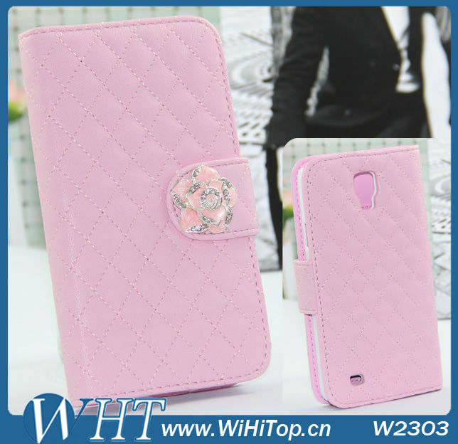 W2303 Baby Pink WHT Leather Case for Galaxy S4 Active i9295 with Camellia Flower,with stand,with wallet