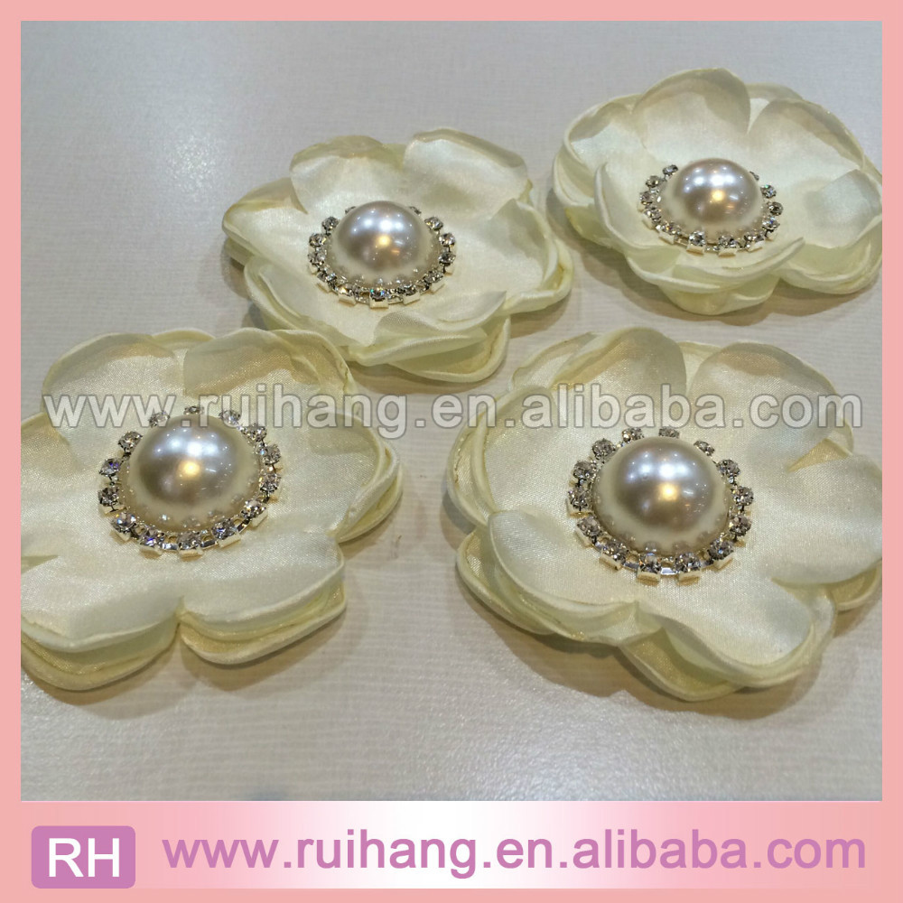 HOT SALE Handmade Various color silk flower with pearl flower in fashion design for invitations