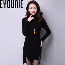 winter girl knitted pullover ladies cashmere long sweater dress